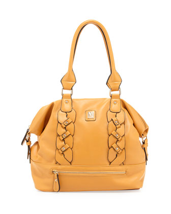 Bianca Braided Dome Satchel Bag, Mustard