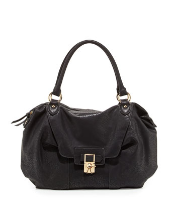 Daniela Turn-Lock Satchel Bag, Black