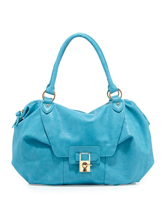 Daniela Turn-Lock Satchel Bag, Turquoise