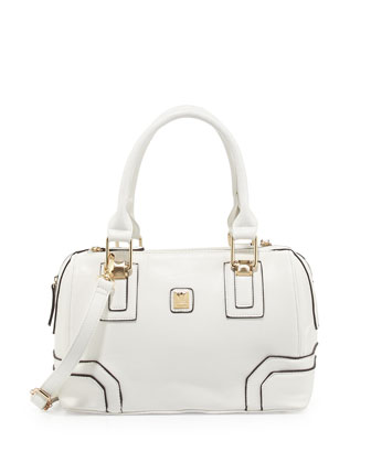 Bacoli Pipe-Trimmed Duffel Bag, White