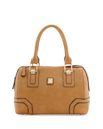Bacoli Faux-Leather Duffle Bag, Beige