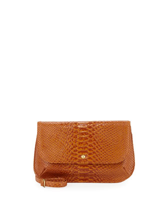 Brigida Snake-Print Leather Snap-Flap Crossbody, Amber Exotic