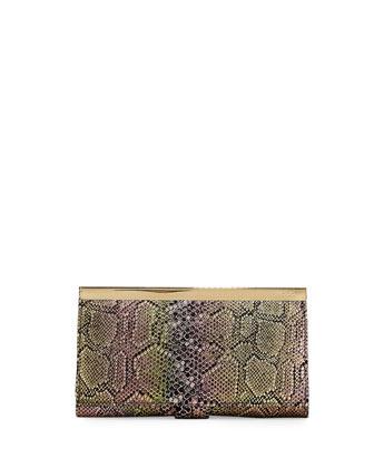 Maxine Metallic Snake-Print Leather Wallet, Iridescent