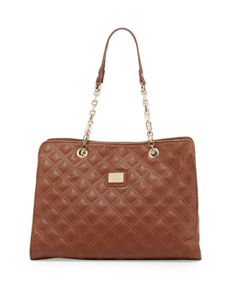 Lucile Quilted Faux Leather Shoulder Bag, Brown