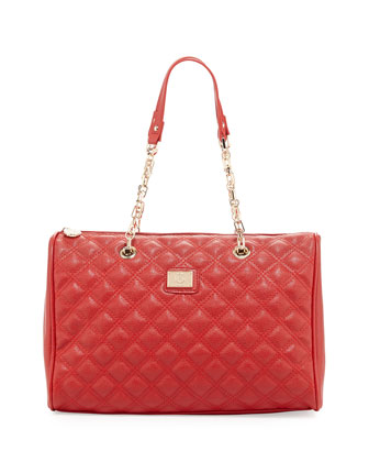 Lucile Quilted Faux Leather Duffel Bag, Red