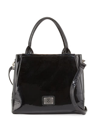 Louise Patent Frame Satchel Bag, Black