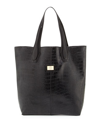 Charlene Croc-Embossed Tote Bag, Black