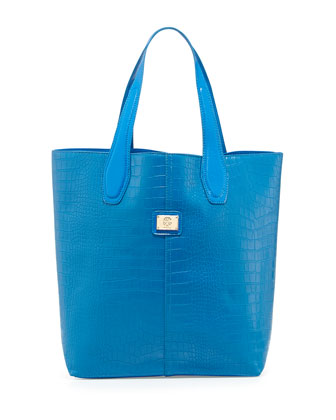 Charlene Croc-Embossed Tote Bag, Blue