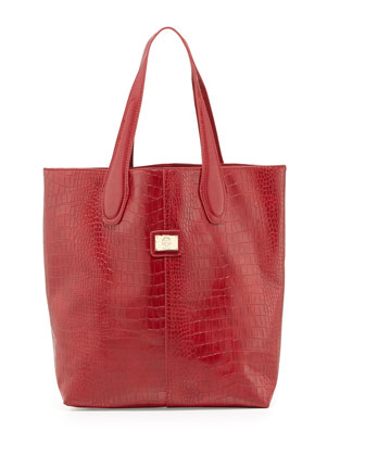 Charlene Croc-Embossed Tote Bag, Red