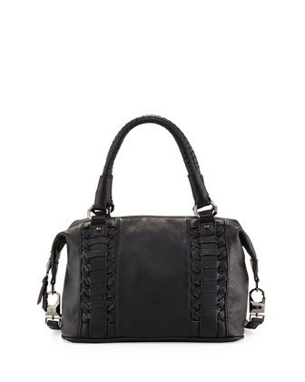 Pebble Leather Woven Satchel, Black