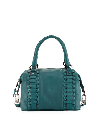 Pebble Leather Woven Satchel, Emerald