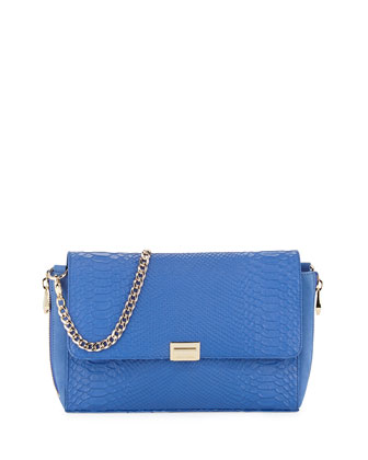 Morandi Snake-Embossed Leather Clutch Bag, Cobalt