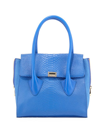 Morandi Washed Snake-Embossed Tote Bag, Cobalt