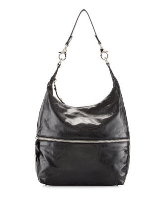 Jude Glossy Tumbled Leather Hobo Bag, Black