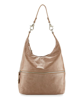 Jude Glossy Tumbled Leather Hobo Bag, Cammeo