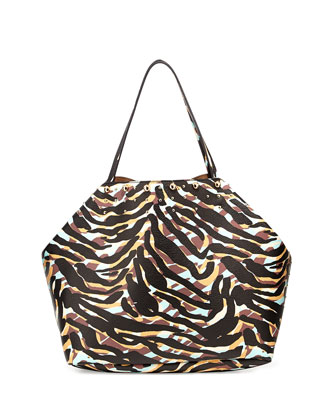 Simone Zebra-Print Faux-Leather Tote, Zebra