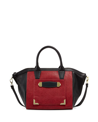Blake Pebbled Faux-Leather Satchel, Wine