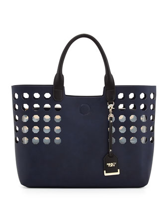 Hexagon Perforated Faux Leather Tote Bag, Navy