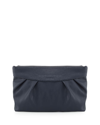 Facile Hinge Gathered Faux-Leather Clutch, Navy