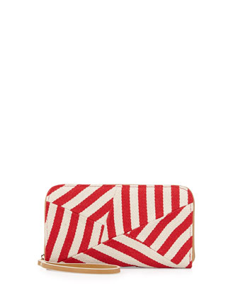 Striped Canvas Zip Wallet, Natural/Red