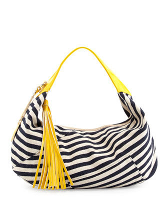 Striped Herringbone Canvas Contrast Hobo Bag, Navy/Yellow