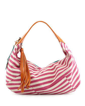 Striped Canvas Contrast Hobo Bag, Pink/Orange