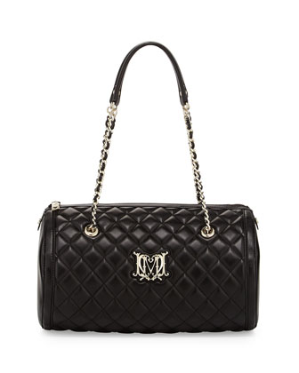 Quilted Faux-Leather Barrel Bag, Black