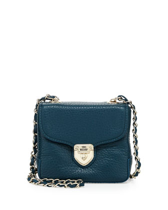 Pebbled Leather Mini Envelope Crossbody Bag, Teal
