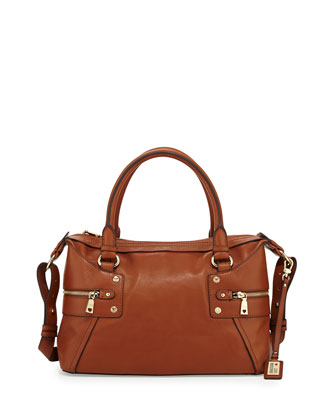 Zip-Detailed Leather Tote Bag, Natural