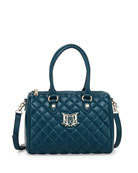 Quilted Faux-Leather Mini Duffel Bag, Teal