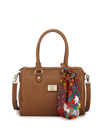 Faux-Saffiano Mini Duffel Bag, Taupe