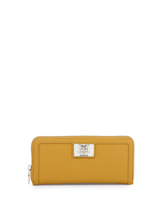 Giallo Zip Saffiano Faux-Leather Wallet, Yellow