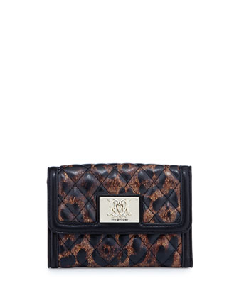 Nero Leopard-Print Quilted Faux-Leather Wallet
