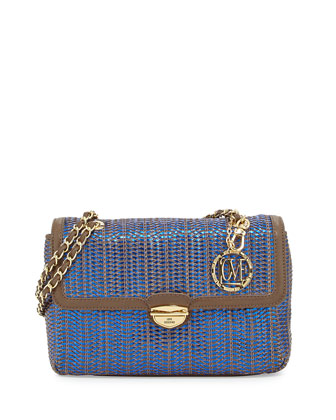 Borsa Woven Metallic PVC Crossbody Bag, Blue/Taupe