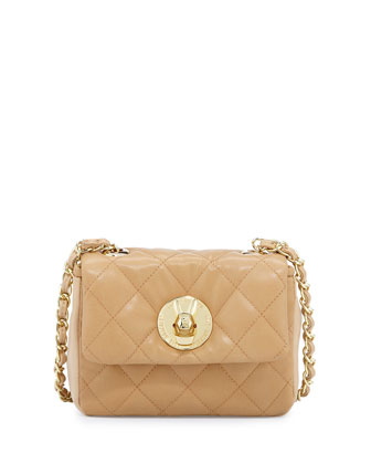 Borsa Quilted Faux-Leather Crossbody Bag, Beige/Natural