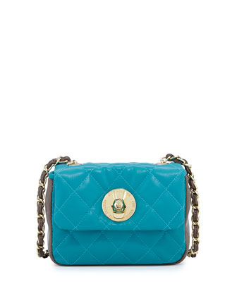 Borsa Quilted Faux-Leather Crossbody Bag, Turquoise/Taupe