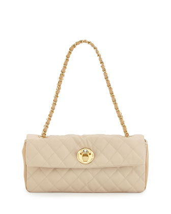 Borsa Quilted Faux-Leather Crossbody Bag, Ivory/Beige