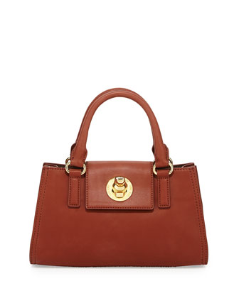 Duck-Detail Turn-Lock Small Satchel Bag, Brown