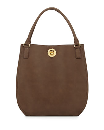Bear Detailed Turn-Lock Shopper Bag, Taupe