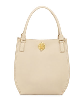 Bear Detailed Turn-Lock Shopper Bag, Ivory