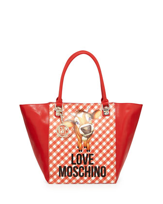 Cow Gingham-Print Faux-Leather Tote Bag, Red