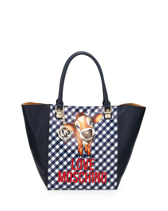 Cow Gingham-Print Faux-Leather Tote Bag, Blue