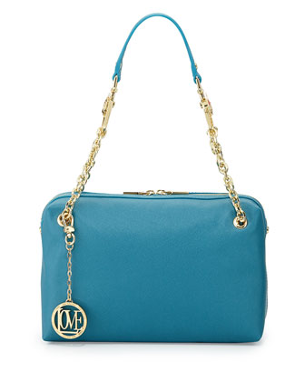 Saffiano Cow-Detail Faux-Leather Shoulder Bag, Blue