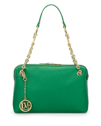 Saffiano Cow-Detail Faux-Leather Shoulder Bag, Green