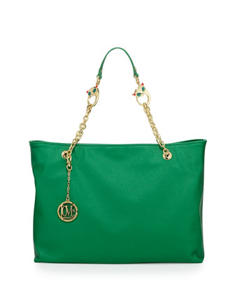 Saffiano Cat-Handle Faux-Leather Tote, Green