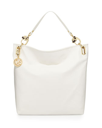 Saffiano Monkey-Head Faux-Leather Tote, White