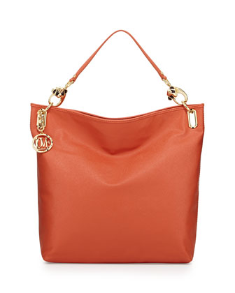 Saffiano Monkey-Head Faux-Leather Tote, Orange