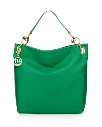 Saffiano Monkey-Handle Faux-Leather Large Tote, Green