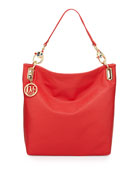 Saffiano Cat-Handle Faux-Leather Small Tote, Red