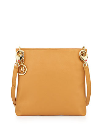 Saffiano Dog-Strap Faux-Leather Crossbody, Camel